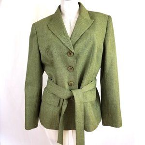 Le Suit Size 14 Green Belted Blazer